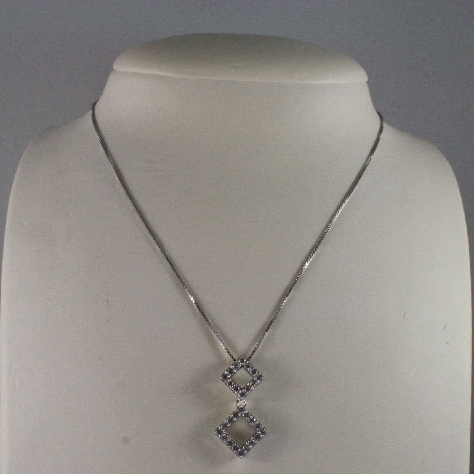.925 SILVER RHODIUM NECKLACE WITH TWO RHOMBUS WITH ZIRCONIA AND VENETIAN MESH