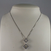 .925 SILVER RHODIUM NECKLACE WITH TWO RHOMBUS WITH ZIRCONIA AND VENETIAN MESH image 1
