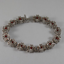 .925 RHODIUM SILVER BRACELET WITH RED ENAMEL