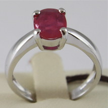 SOLID 18K WHITE GOLD RING, SOLITAIRE WITH OVAL RUBY CT 1.15, MADE IN ITALY