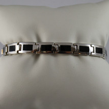 .925 RHODIUM SILVER BRACELET WITH RECTANGLES OF BLACK ENAMEL