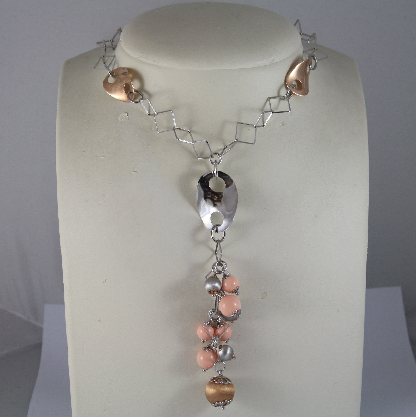 .925 RHODIUM SILVER AND ROSE GOLD PLATED NECKLACE WITH CORAL BAMBOO AND OVALS