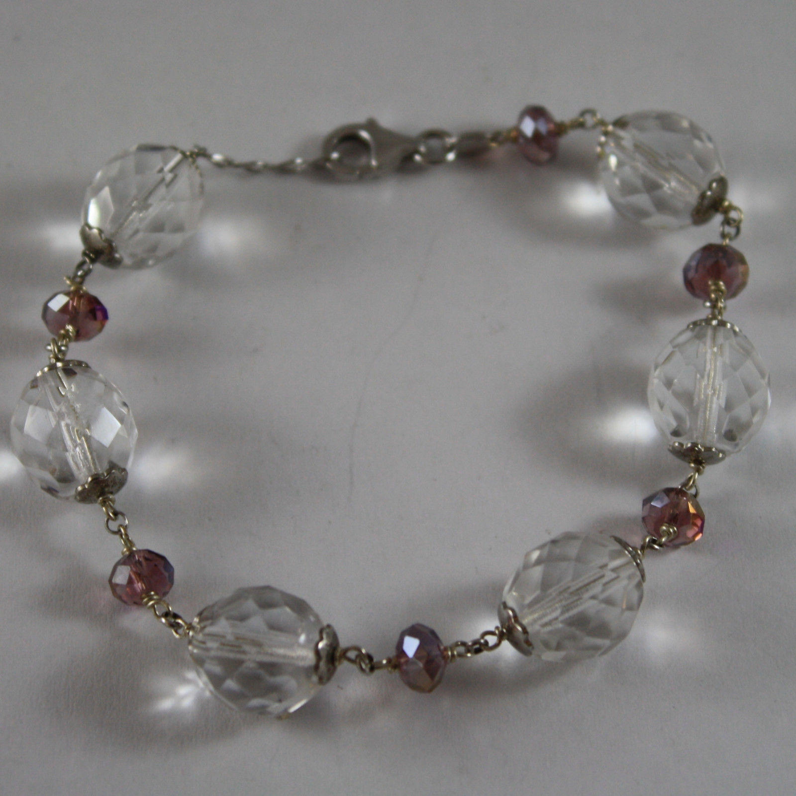 925. RHODIUM SILVER BRACELET WITH PURPLE AND TRANSPARENT CRYSTALS