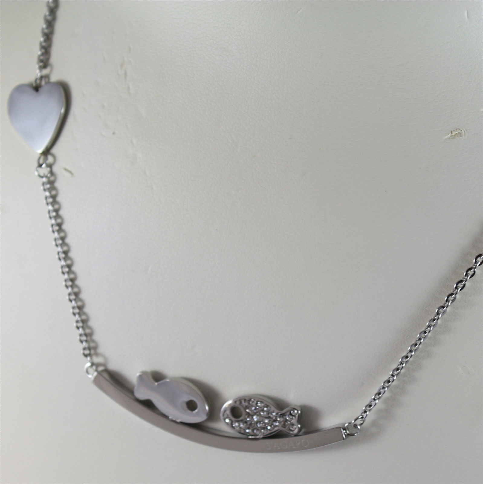 S'AGAPO' NECKLACE, 316L STEEL, KISSING FISHES, FACETED CRYSTALS.