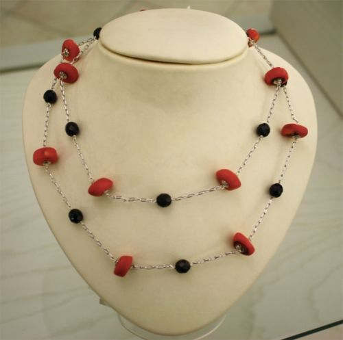 CORAL AND ONYX .925 RHODIUM SILVER NECKLACE
