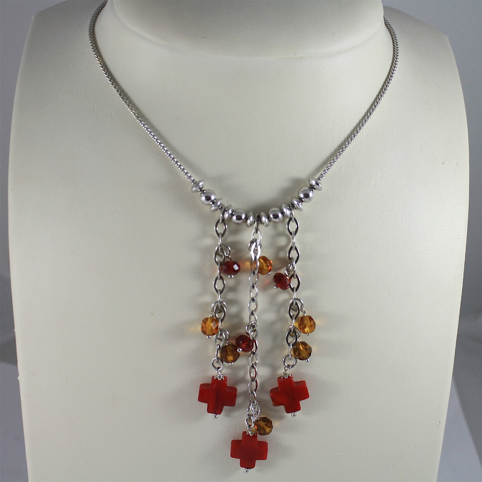 .925 RHODIUM SILVER NECKLACE, BROWN FACETED CRYSTALS, BAMBOO CORAL RED CROSSES.