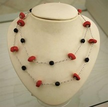 CORAL AND ONYX .925 RHODIUM SILVER NECKLACE image 2