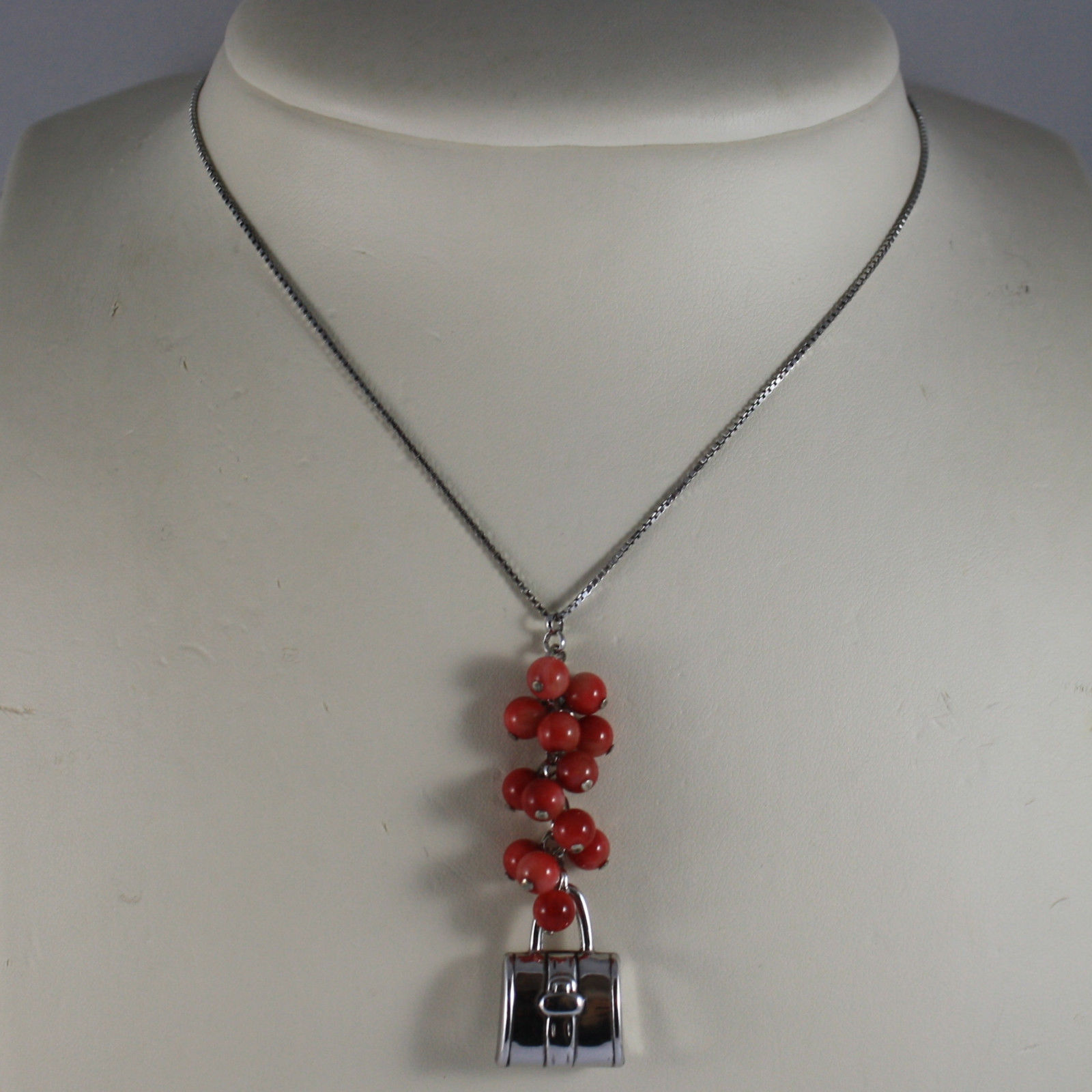 .925 RHODIUM SILVER NECKLACE WITH RED CORAL BAMBOO AND BAG CHARM