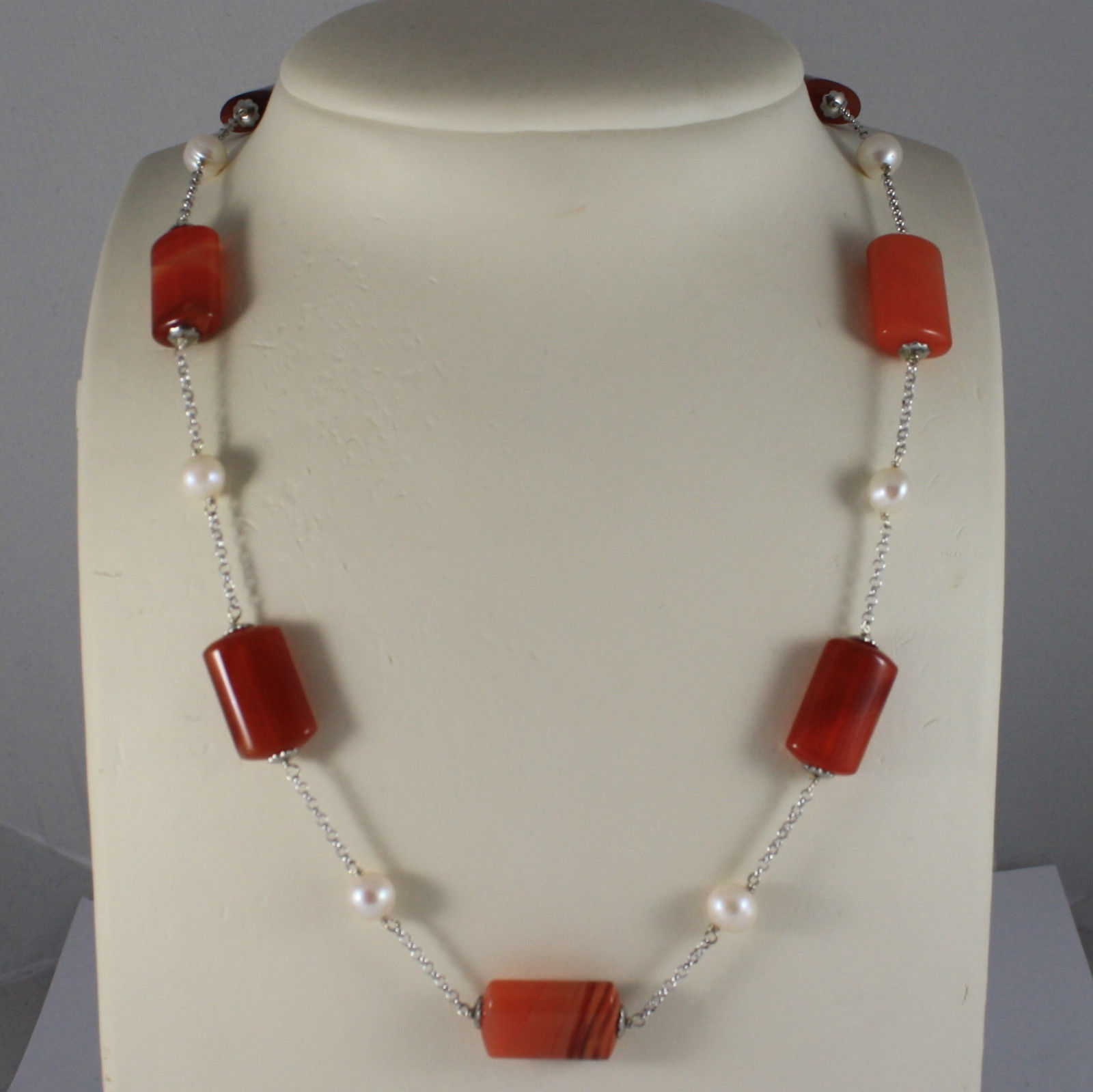 .925 SILVER RHODIUM NECKLACE WITH ORANGE AGATE AND WHITE PEARLS