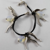 .925 Rhodium Silver And Cord Bracelet With Blue Opal And Horns Charms - $76.00