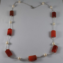 .925 SILVER RHODIUM NECKLACE WITH ORANGE AGATE AND WHITE PEARLS image 2