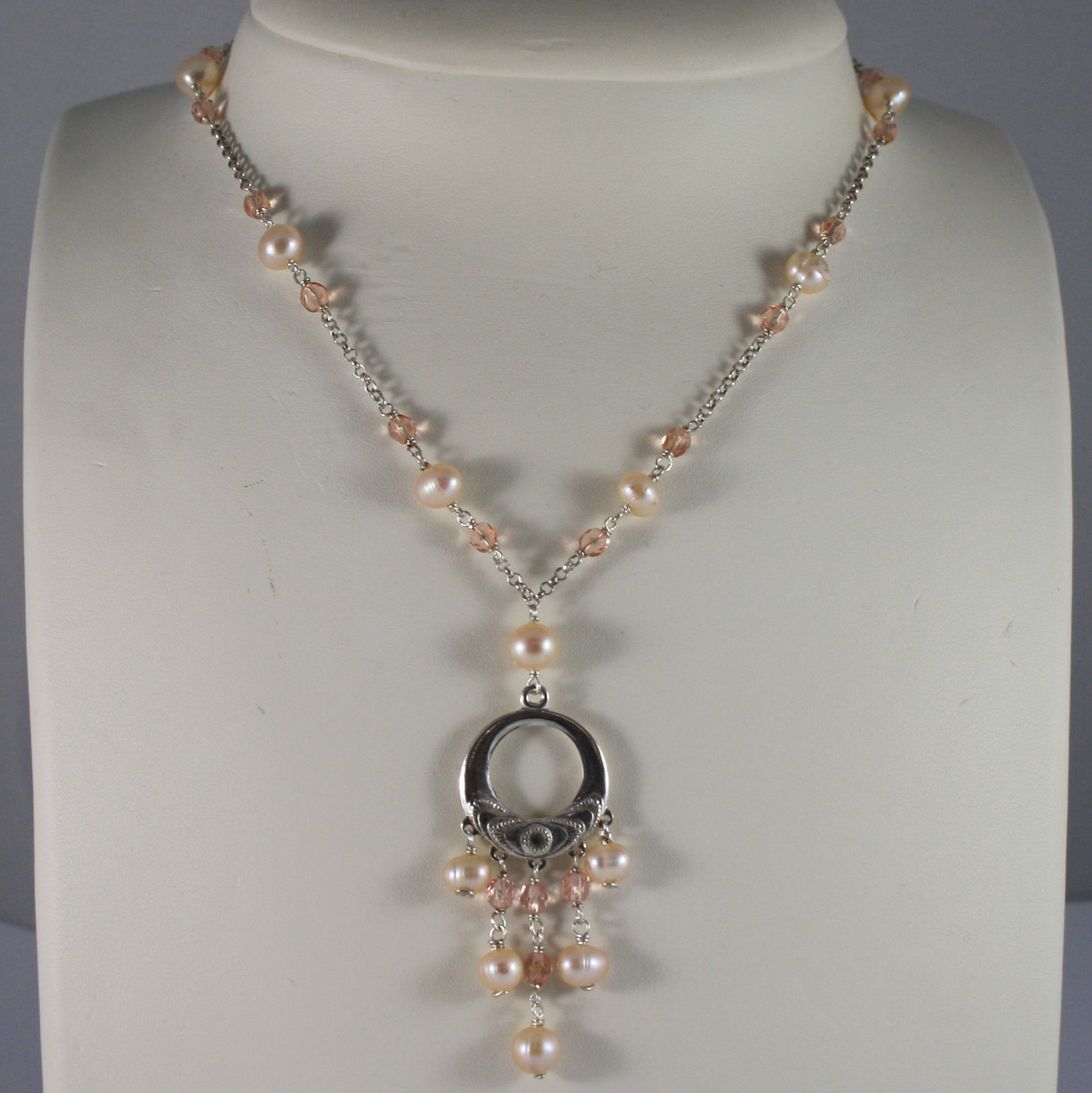 .925 SILVER RHODIUM NECKLACE WITH PINK PEARLS, PINK CRYSTALS AND PENDANT