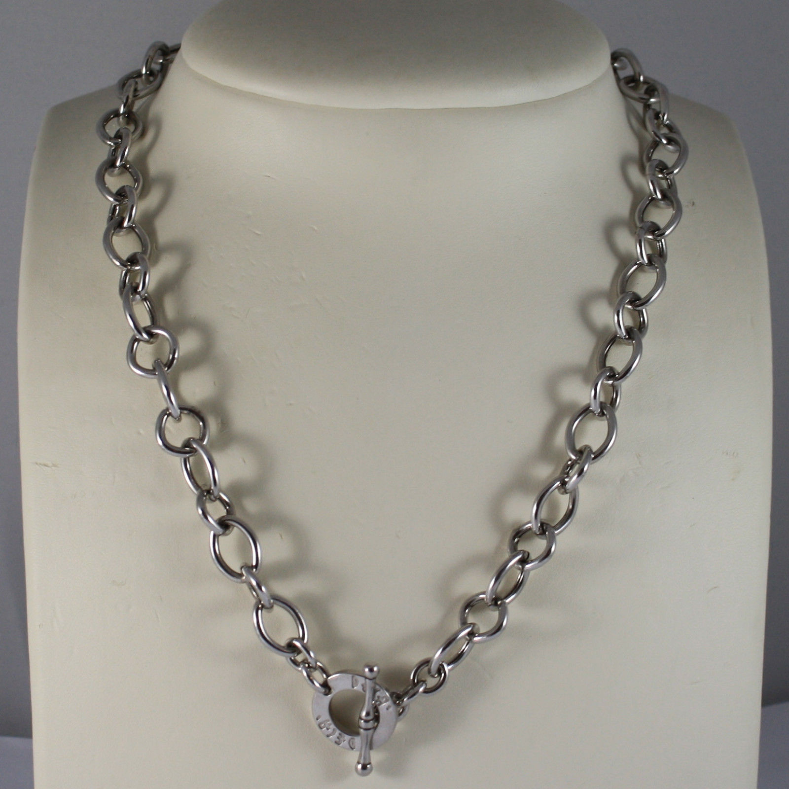 .925 RHODIUM SILVER NECKLACE WITH OVAL MESH