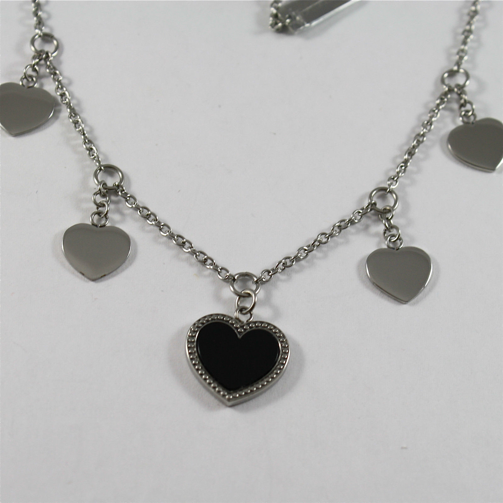 S'AGAPO' NECKLACE, 316L STEEL, BLACK GLAZED HEARTS, CENTRAL, FOUR HEARTS CHARMS.