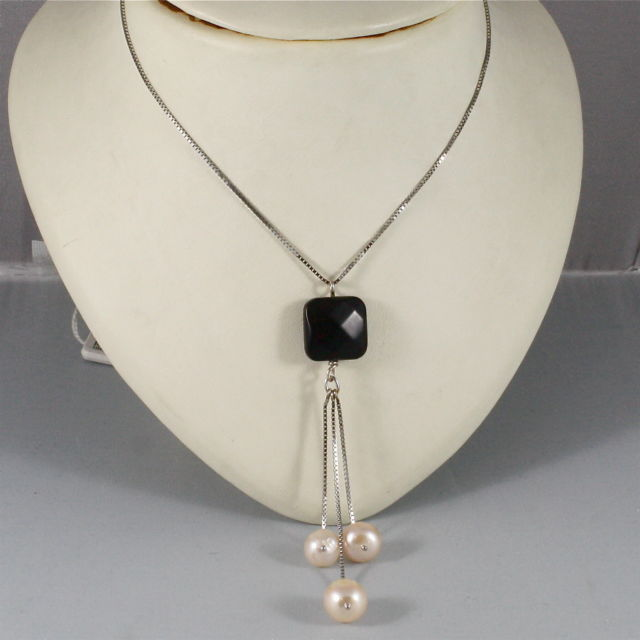 18K WHITE GOLD NECKLACE WITH PENDANT ONYX, ROSE PEARL DIAMETER 1CM MADE IN ITALY