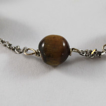 .925 RHODIUM SILVER BRACELET WITH TIGER EYE image 2