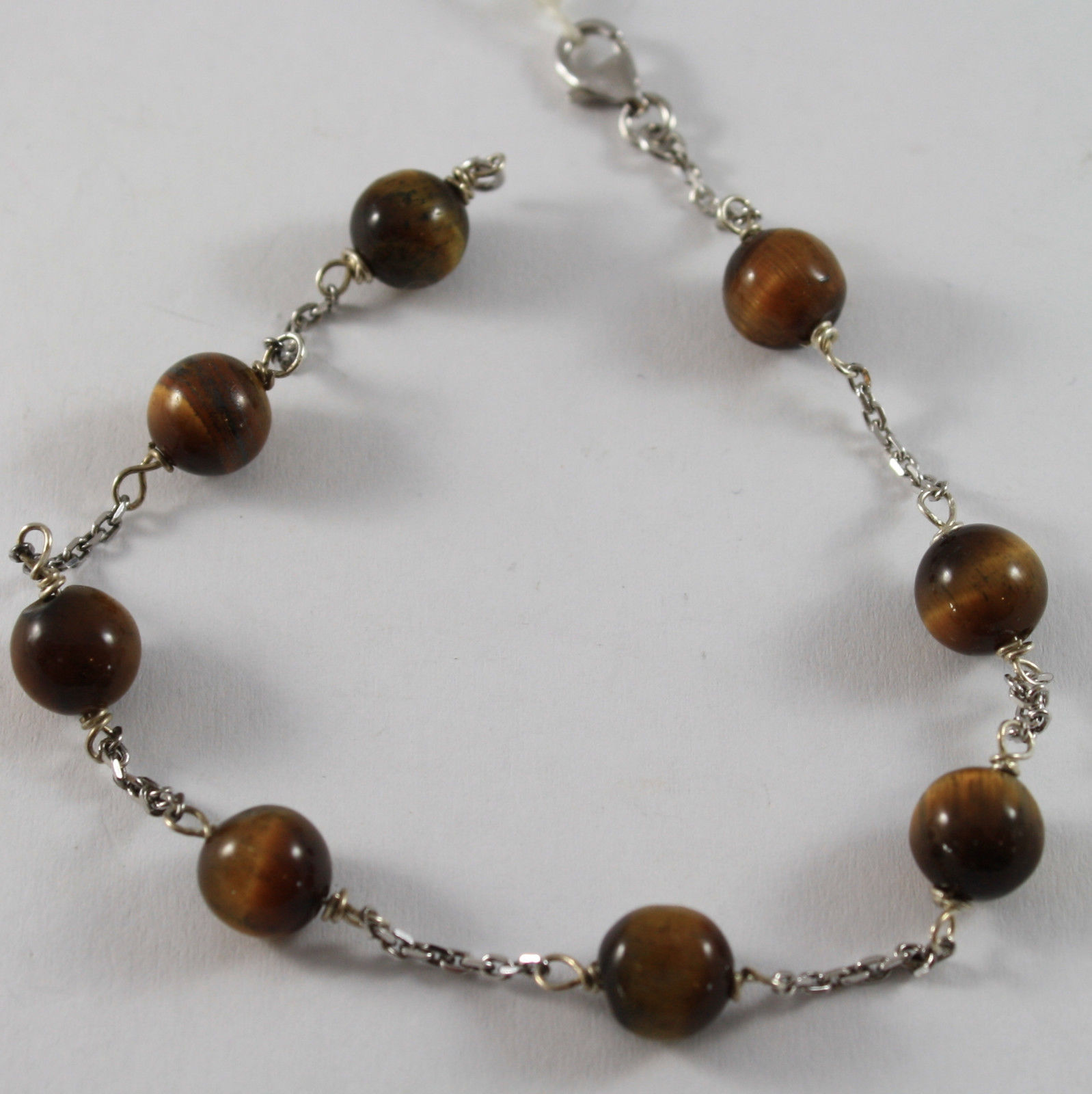 .925 RHODIUM SILVER BRACELET WITH TIGER EYE