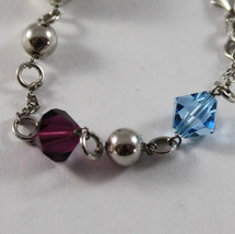 .925 RHODIUM SILVER BRACELET WITH CRYSTALS AND SILVER OVAL image 3