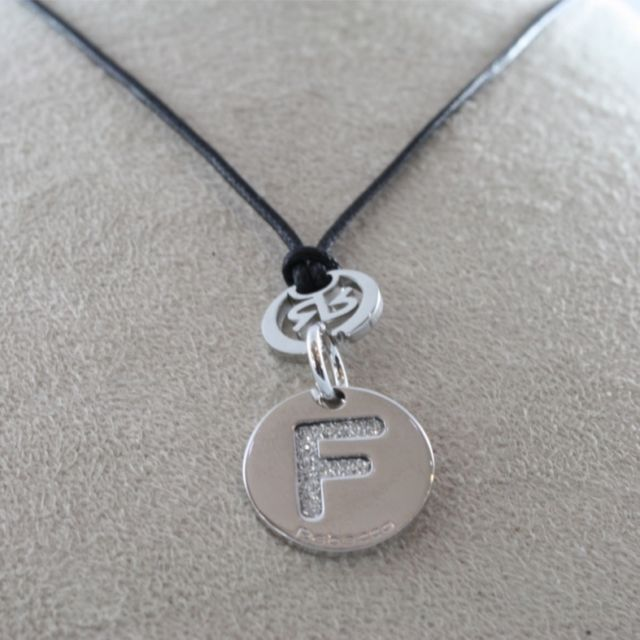 "RHODIUM-PLATED BRONZE LETTER ""F"" PENDANT WAXED CORD BY REBECCA MADE IN ITALY"