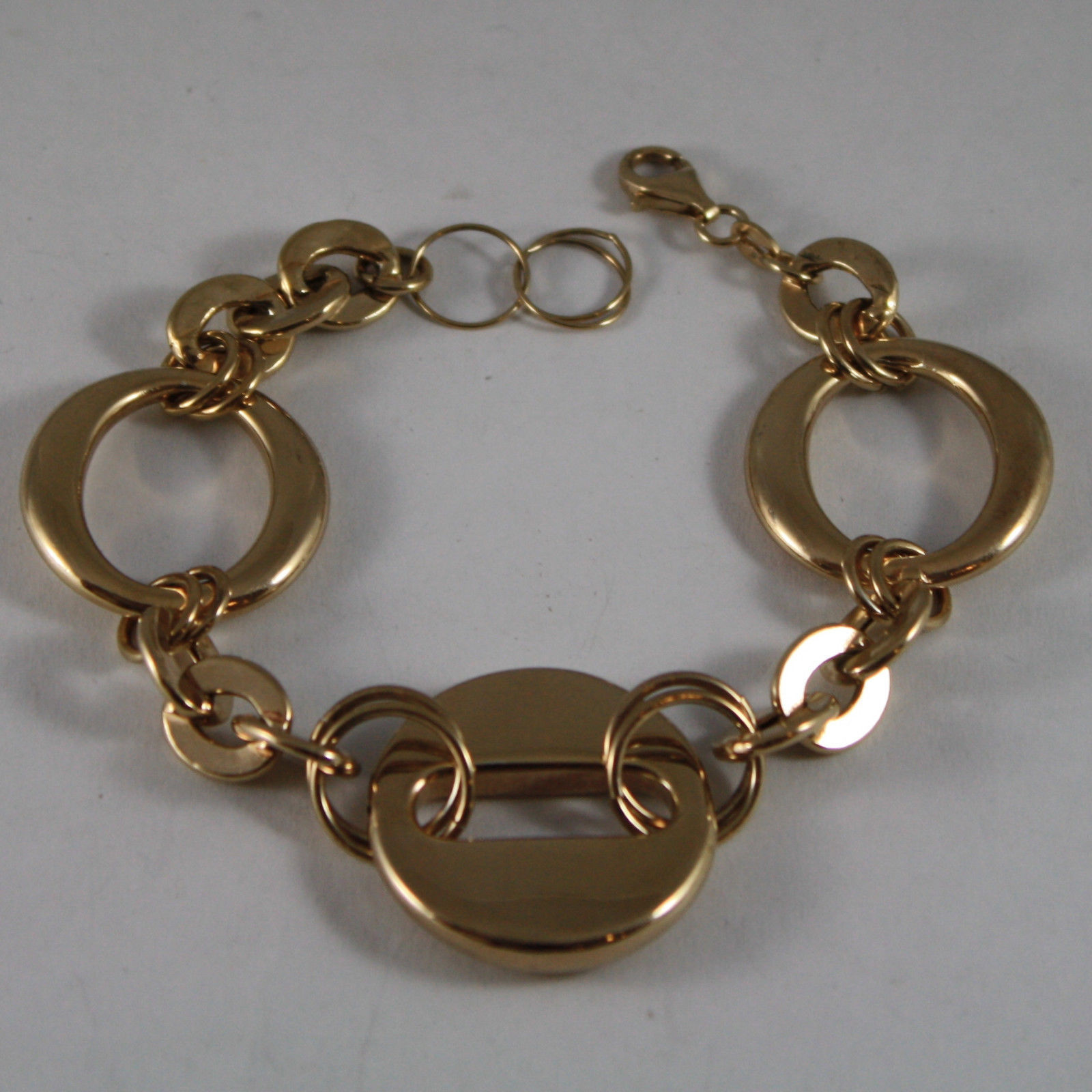 .925 RHODIUM SILVER YELLOW GOLD PLATED BRACELET WITH CIRCLES