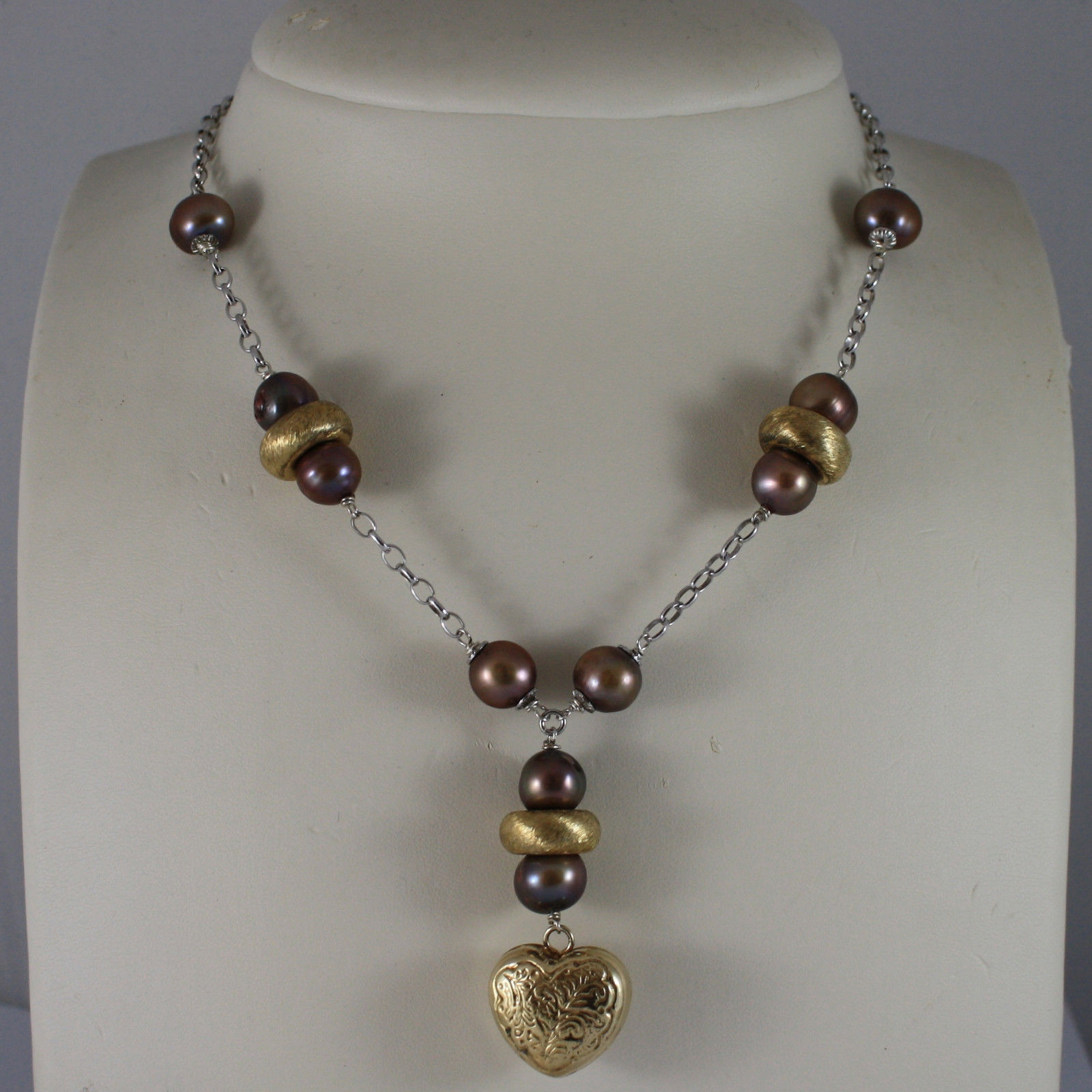 .925 SILVER RHODIUM NECKLACE WITH BROWN PEARLS AND HEART PENDANT