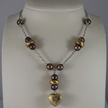.925 SILVER RHODIUM NECKLACE WITH BROWN PEARLS AND HEART PENDANT image 1