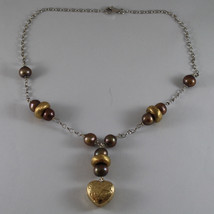 .925 SILVER RHODIUM NECKLACE WITH BROWN PEARLS AND HEART PENDANT image 2