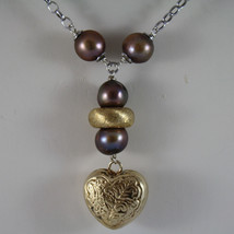 .925 SILVER RHODIUM NECKLACE WITH BROWN PEARLS AND HEART PENDANT image 3