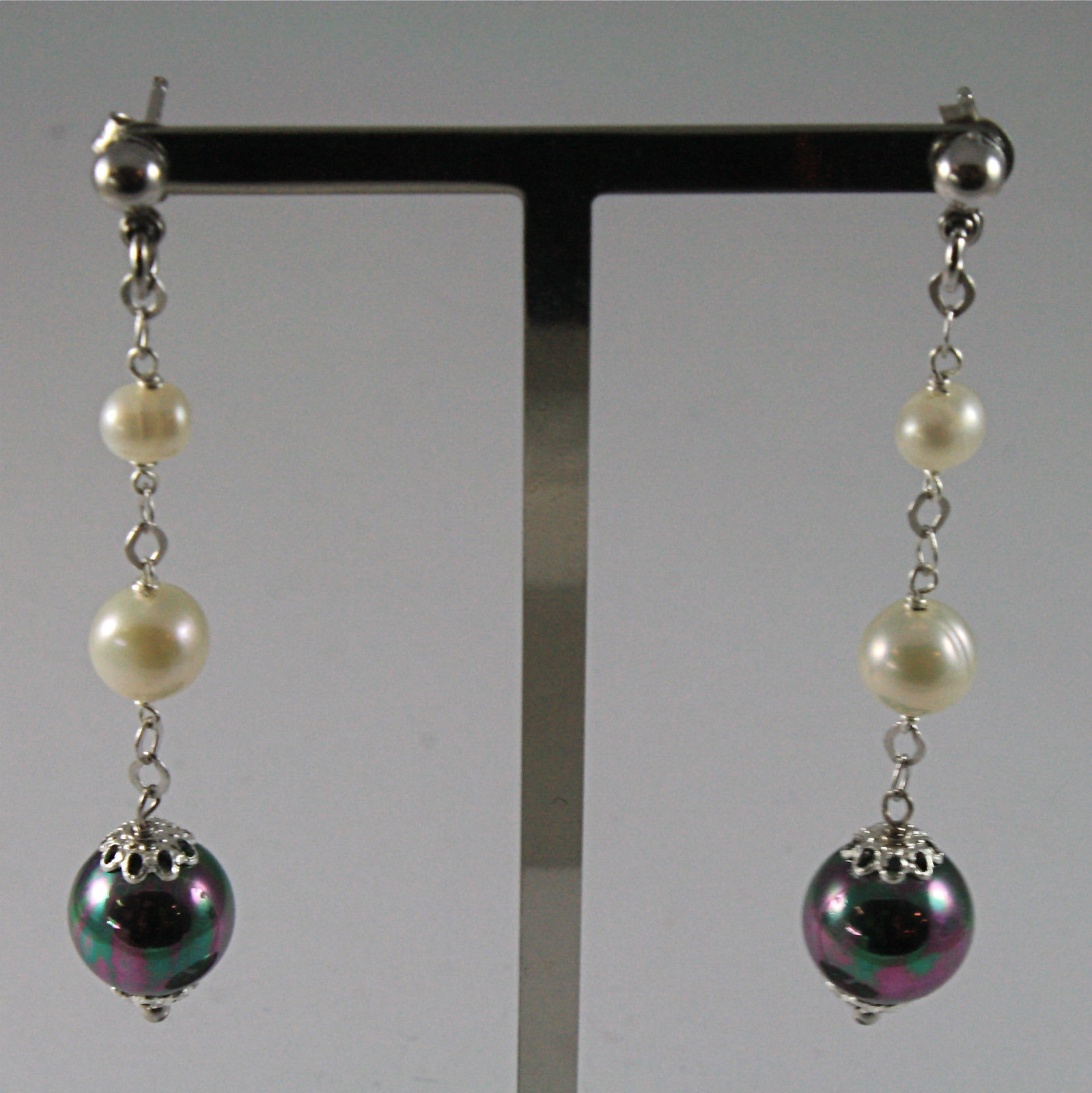.925 RHODIUM SILVER EARRINGS WITH 4 AND 6 MM FRESHWATER PEARLS 2.28 IN LENGHT