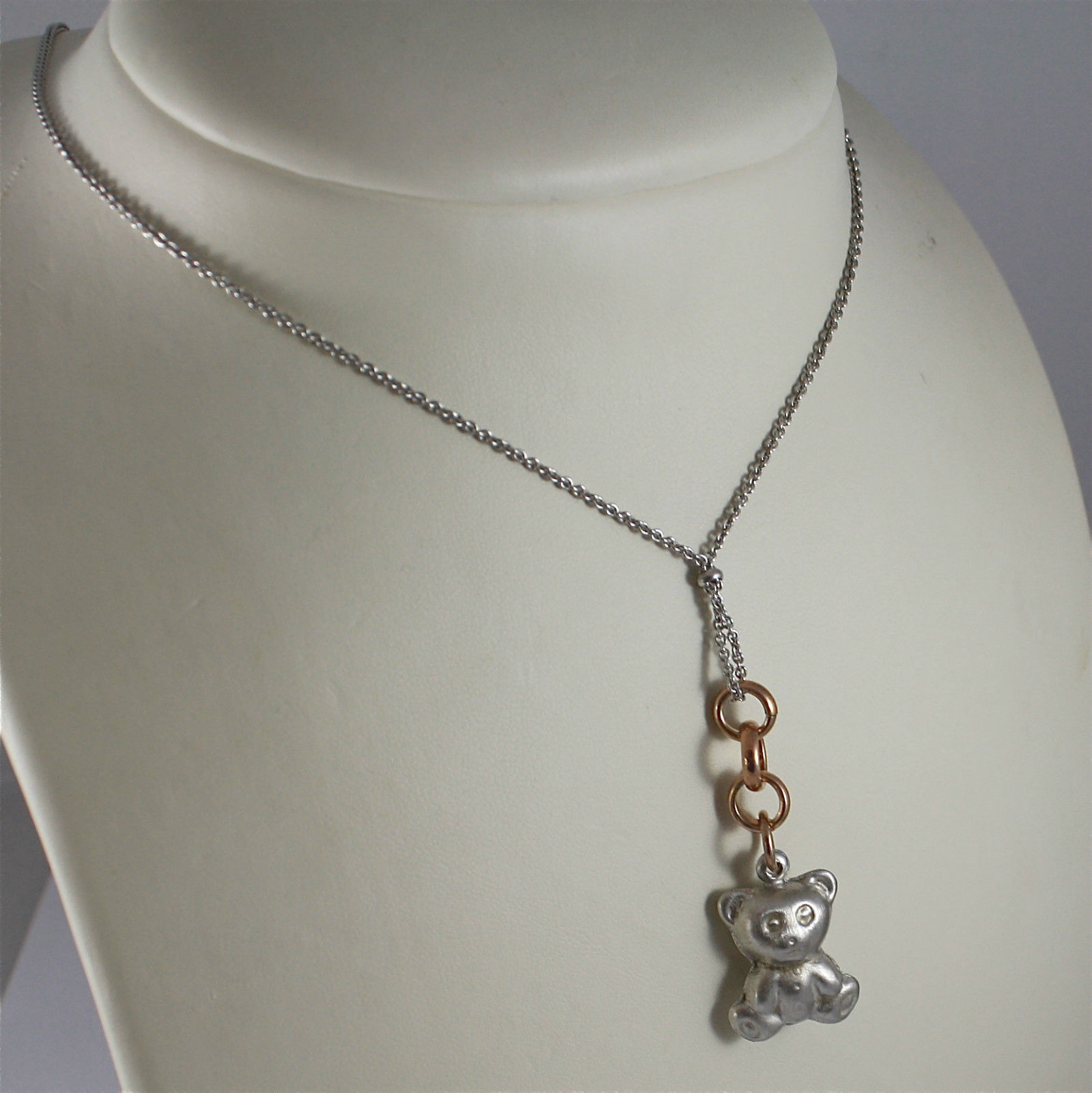 ".925 RHODIUM SILVER NECKLACE, SATIN CENTRAL ""LITTLE BEAR"" SHAPED, ROSE GOLD PLT."