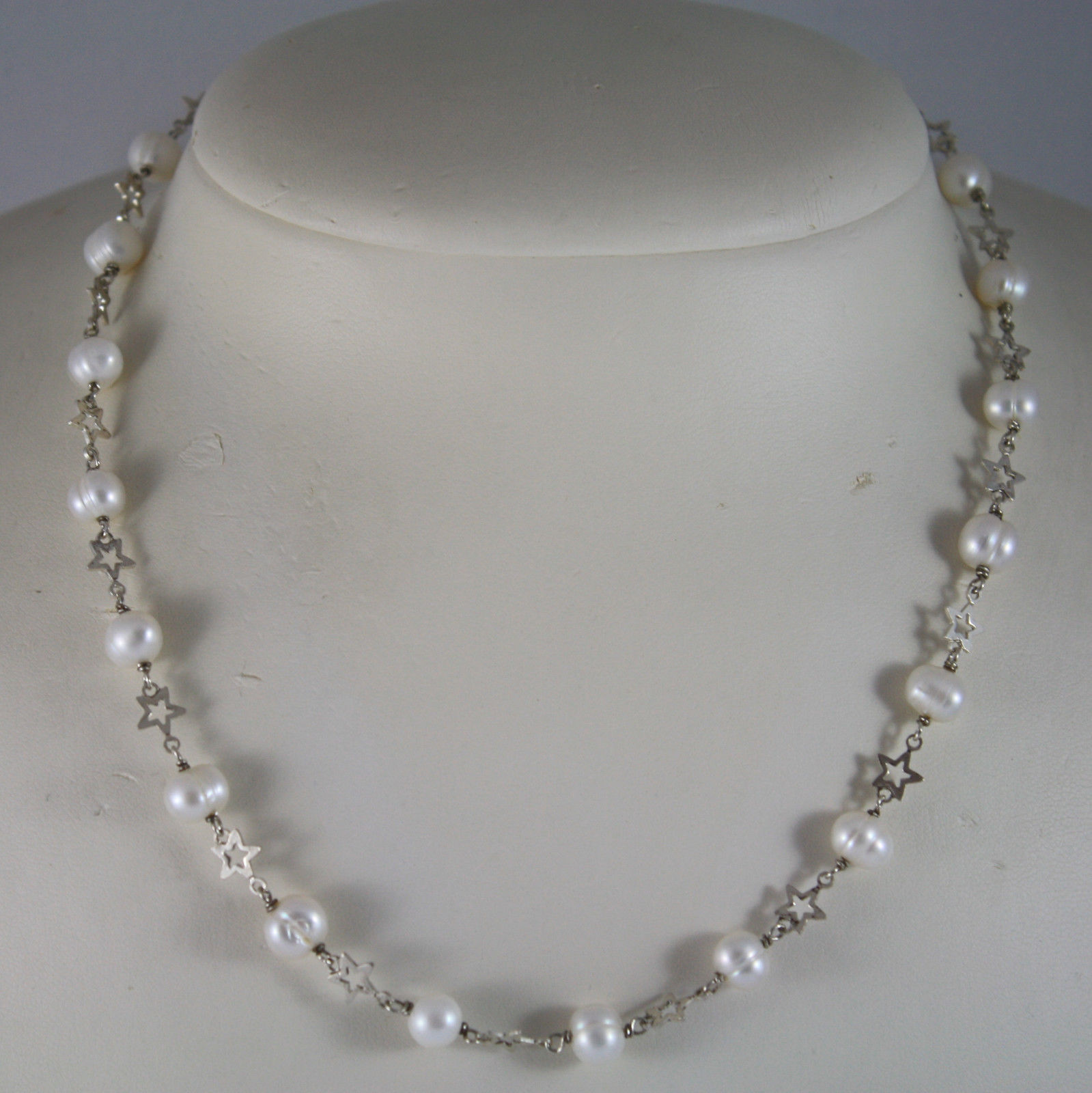 .925 RHODIUM SILVER NECKLACE WITH WHITE FRESHWATER PEARLS AND STARS