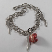 .925 RHODIUM SILVER BRACELET WITH FUCHSIA MOTHER OF PEARL AND SILVER HORNS image 1