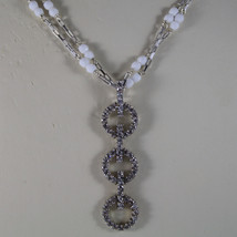 .925 RHODIUM MULTI STRAND NECKLACE WITH WHITE AGATE AND ZIRCONS image 3