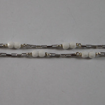 .925 RHODIUM MULTI STRAND NECKLACE WITH WHITE AGATE AND ZIRCONS image 4