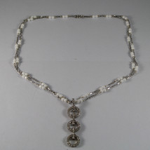 .925 RHODIUM MULTI STRAND NECKLACE WITH WHITE AGATE AND ZIRCONS image 2