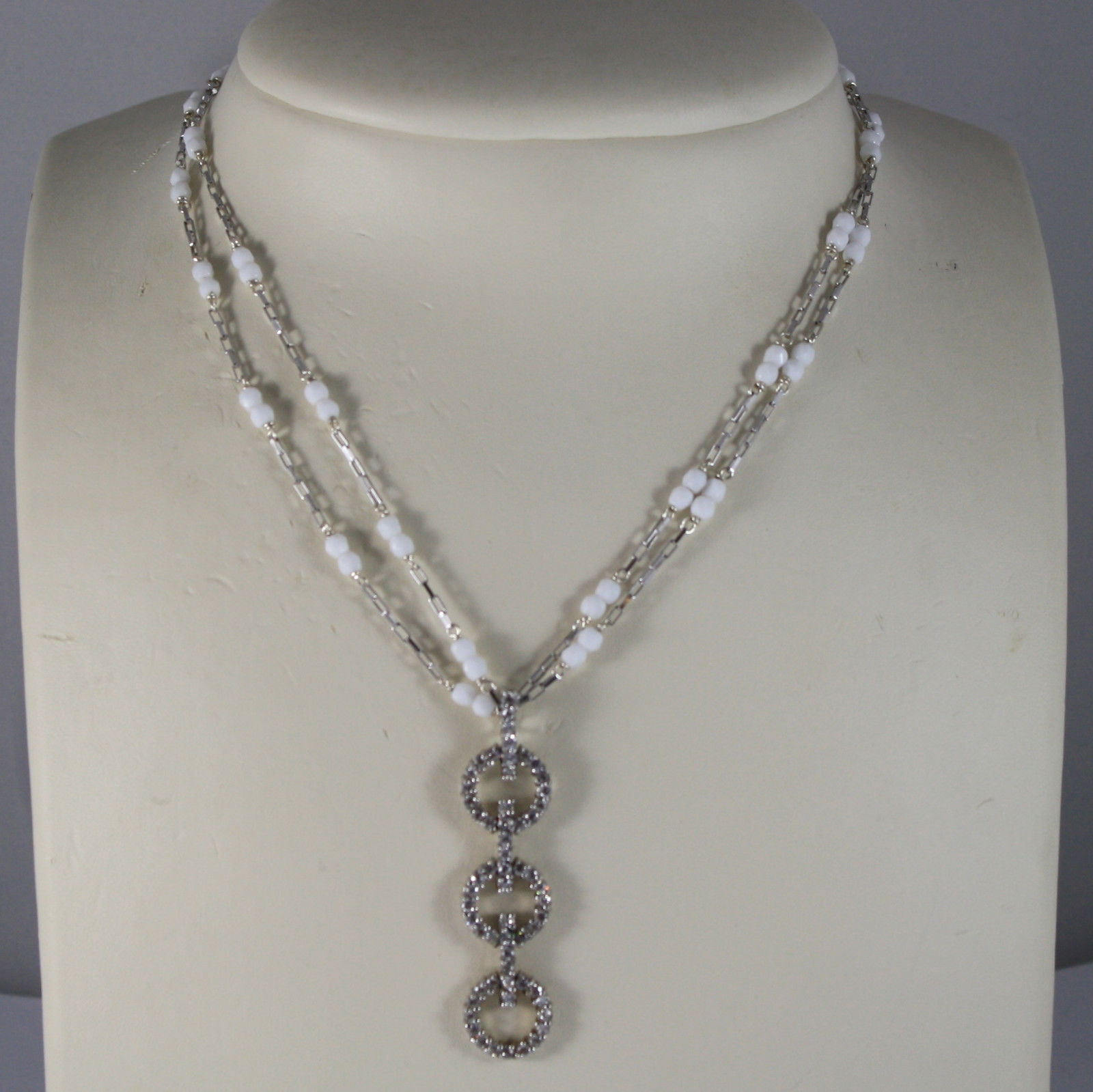 .925 RHODIUM MULTI STRAND NECKLACE WITH WHITE AGATE AND ZIRCONS