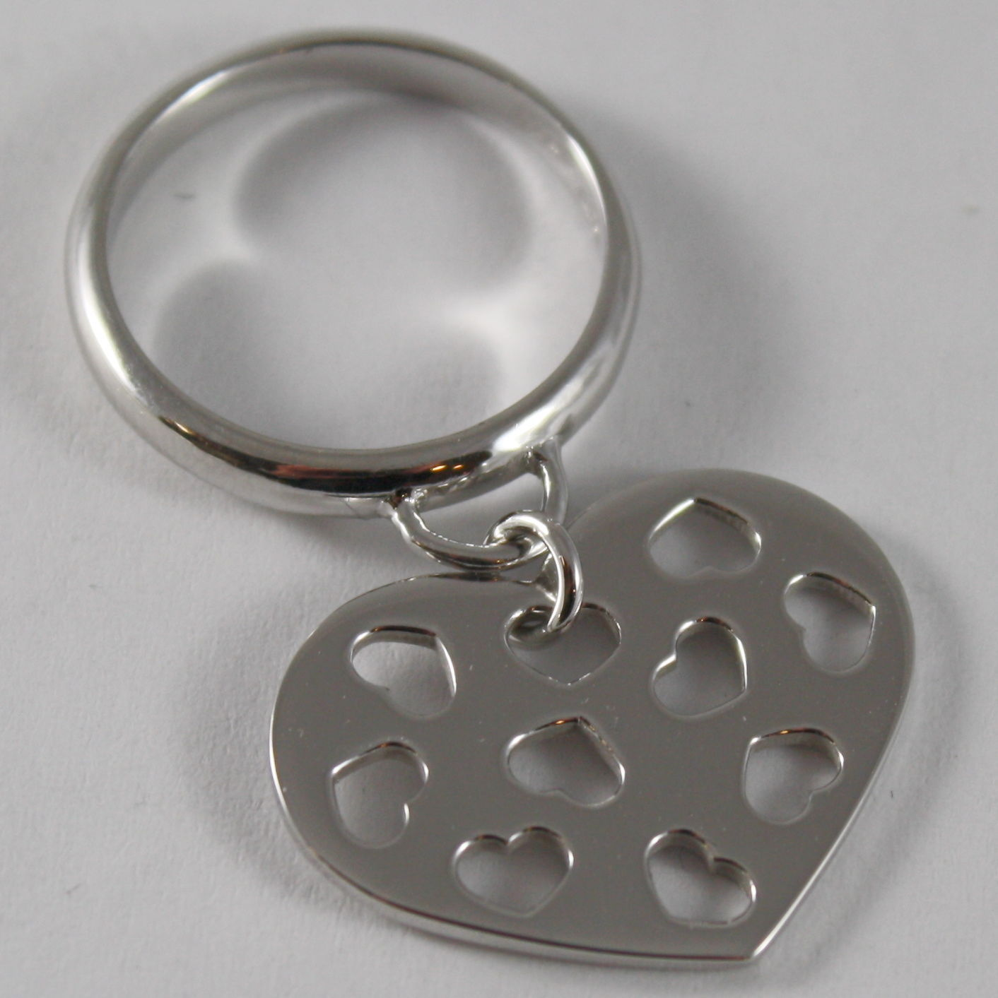 SOLID .925 RHODIUM SILVER RING WITH HEART PENDANT BY NANIS MADE IN ITALY
