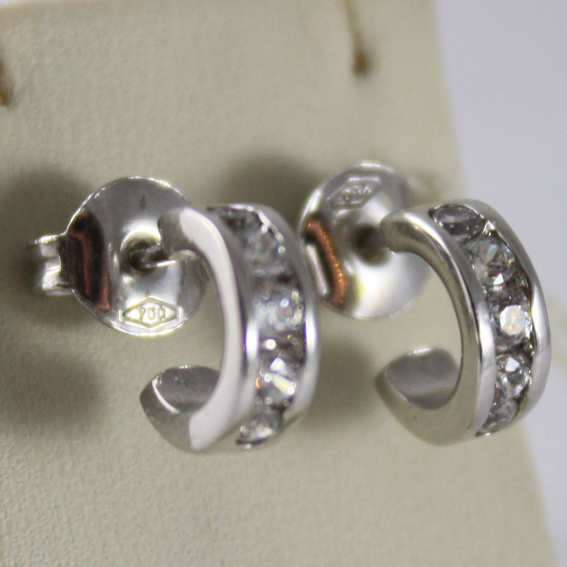 "SOLID 18K WHITE GOLD CIRCLE EARRINGS WITH ZIRCONIA, DIAM 0.35"" MADE IN ITALY"