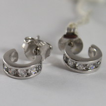 """SOLID 18K WHITE GOLD CIRCLE EARRINGS WITH ZIRCONIA, DIAM 0.35"""" MADE IN ITALY image 2"""