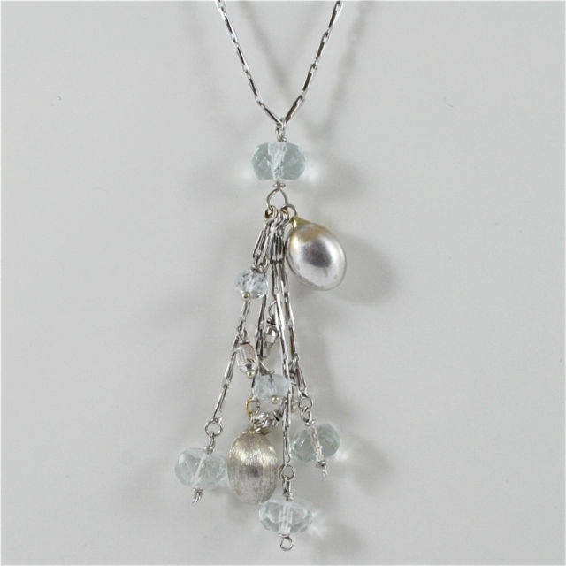 18K WHITE GOLD NECKLACE WITH AQUAMARINE, NUGGETS, CLUSTER PENDANT, MADE IN ITALY