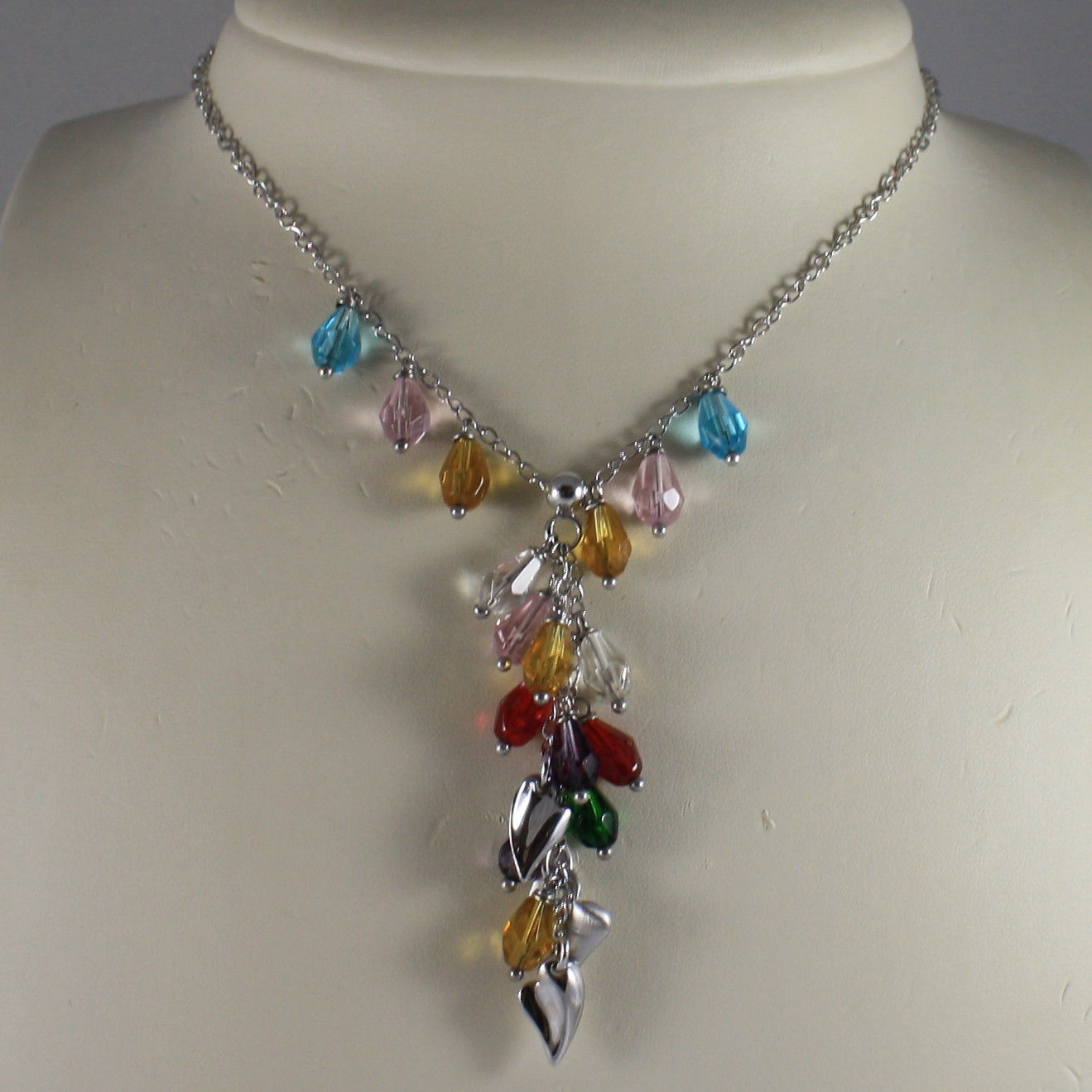 .925 SILVER RHODIUM NECKLACE WITH COLORED CRYSTALS AND HEARTS PENDANT