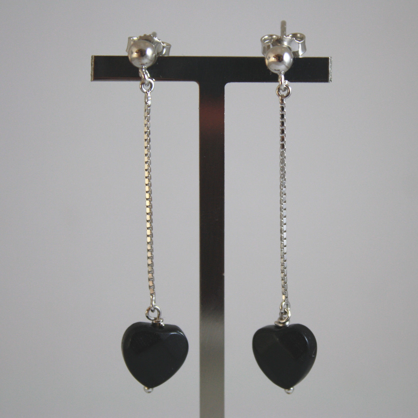 SOLID 18K WHITE GOLD EARRINGS, WITH HEART OF BLACK ONYX, LENGTH 2,09 IN
