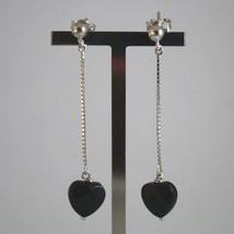 SOLID 18K WHITE GOLD EARRINGS, WITH HEART OF BLACK ONYX, LENGTH 2,09 IN image 1