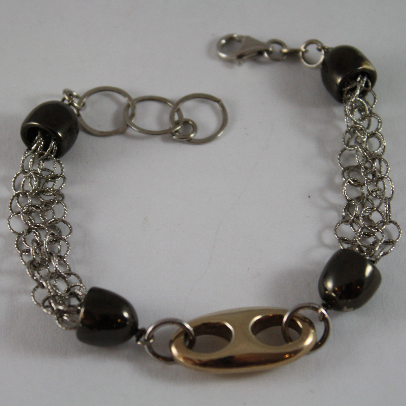 .925 RHODIUM AND YELLOW GOLD PLATED SILVER  BRACELET WITH GOLDEN OVAL