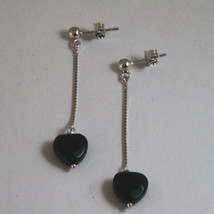 SOLID 18K WHITE GOLD EARRINGS, WITH HEART OF BLACK ONYX, LENGTH 2,09 IN image 2