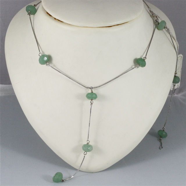 18K WHITE GOLD SCARF NECKLACE WITH PENDANT, GREEN JADE, MADE IN ITALY