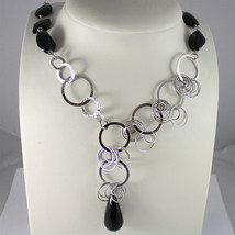 .925 RHODIUM SILVER NECKLACE, FACETED BLACK ONYX, DISC MESH, ONYX CENTRAL DROP.