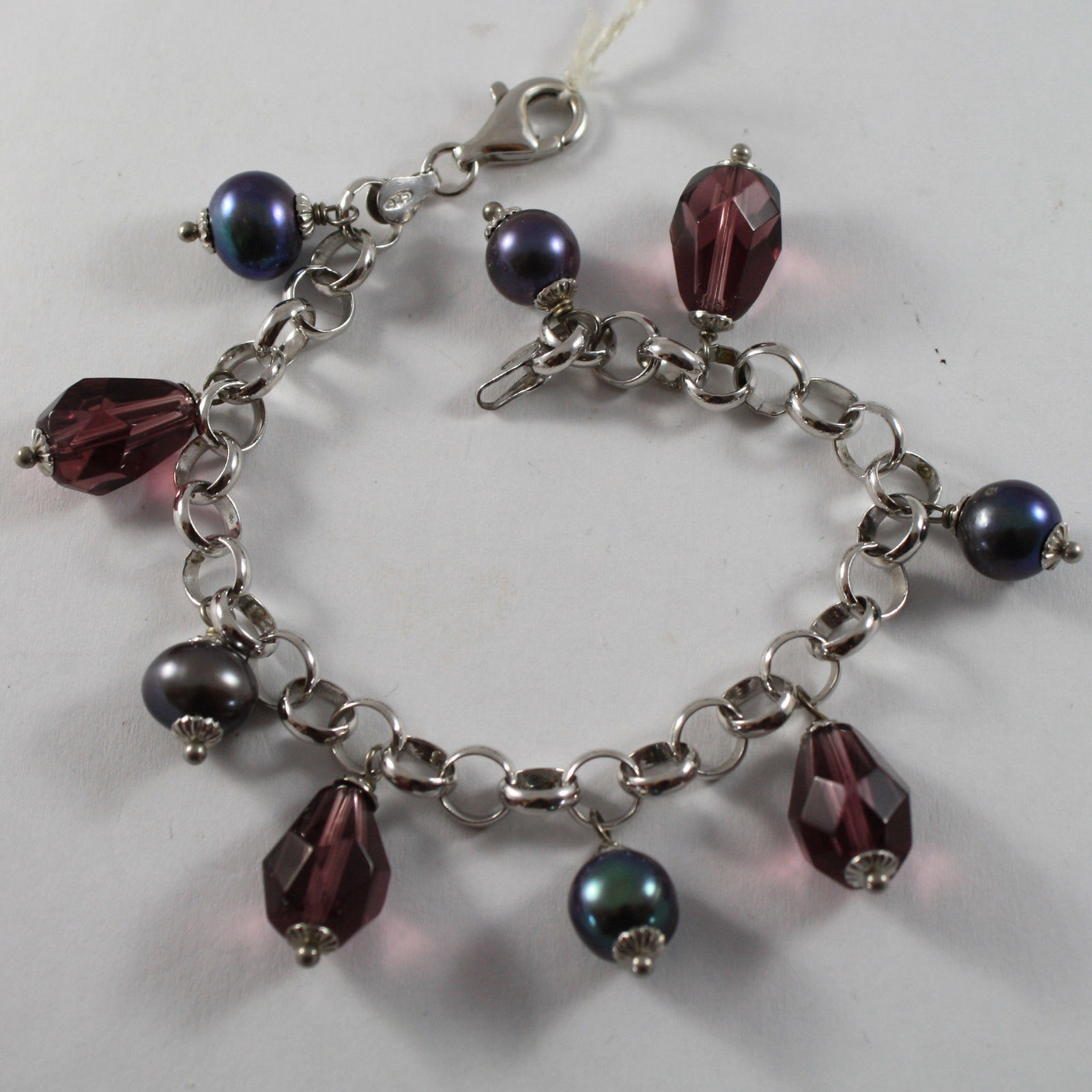 .925 RHODIUM SILVER BRACELET WITH DROPS OF PURPLE CRISTAL AND GRAY PEARLS