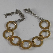 .925 RHODIUM SILVER AND YELLOW GOLD PLATED BRACELET WITH CIRCLES BRAIDED