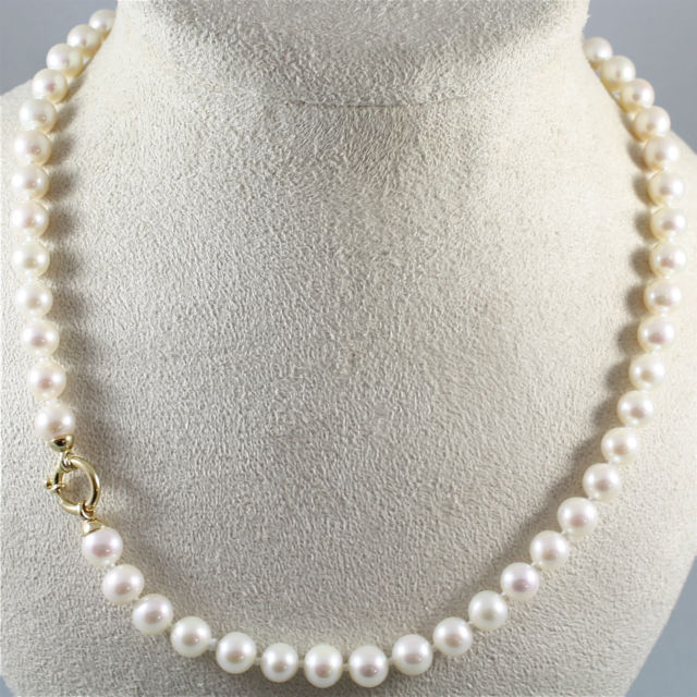 NECKLACE WITH WHITE PEARL DIAMETER .31 In AND 18K 750 YELLOW GOLD CLOSURE